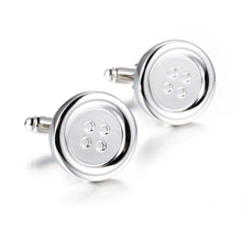 The new high-quality copper Silver Cufflinks men round French Cufflinks(China)