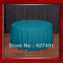 "Hot Sale 132"" R Teal Round Table Cloth Polyester Plain Table Cover for Wedding Events &Party Decoration(Supplier)(China)"