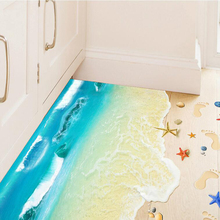 Ocean beach bathroom tile stickers removable 3d wall decorations for living room waterproof adhesive bedroom floor wall pictures(China)