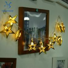 Baoblaze Retro Golden Metal Pentagram Battery Operated 10LED Bulb Wire String Light for Wedding Hotel Business Building Festival(China)