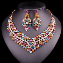 Luxury Rhinestone Indian Jewelry Sets Wedding Jewelery Necklace Earring set for Brides Party costume Accessories Gift For Women(China)
