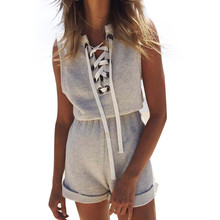 Feitong Romers Women Jumpsuit Lace Up Gray Summer Short Jumpsuit Beach High Waist Playsuit One Piece Casual Overalls Plus Size
