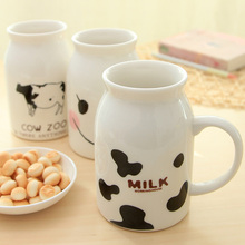 Sweet Cartoon Milk Cup Couple Mug Water Ceramic Coffee Cup Breakfast Milk Bottle Milk MUG Ceramic Cups Porcelain Mugs Cute Gifts