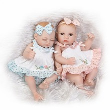 NPKCOLLECTION Waterproof Mini reborn Baby Doll Pair Lifelike Living Doll Solid Silicone Children Gift 12 inches(China)