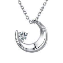JEXXI Trendy Fashion Charms Cute 925 Sterling Silver Moon Necklace Cubic Zirconia Crystal Necklaces  Women Girl  Pendant Jewelry