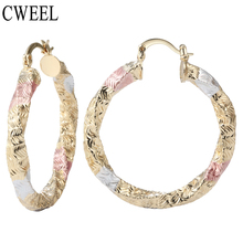 CWEEL Silver Rose Gold Color Dubai Bridal Big Round Hoop Earrings For Wedding Women Jewelry Holiday Anniversary Accessories(China)