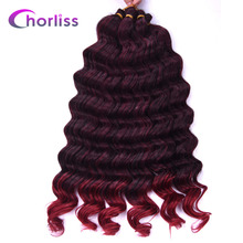 "Chorliss 22"" Synthetic Ombre Dark Blonde Braiding Hair Extensions Deep Wave Crochet Braids Hair 80g/pack"