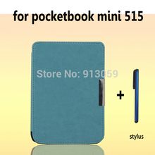 Ultra Slim Magnetic Folio Leather Case Cover Pouch For PocketBook mini 515 ebook case+stylus pen as gift