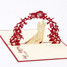Creative Sweety Wedding Greeting Kirigami Card 3D Pop Up Paper Laser Cut Custom Postcards Wishes Gifts for lover
