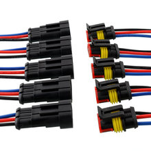 New 5 Kit 3 Pin Way Car Vehicle Waterproof Electrical Connector Plug W/Wire AWG Marine High quality