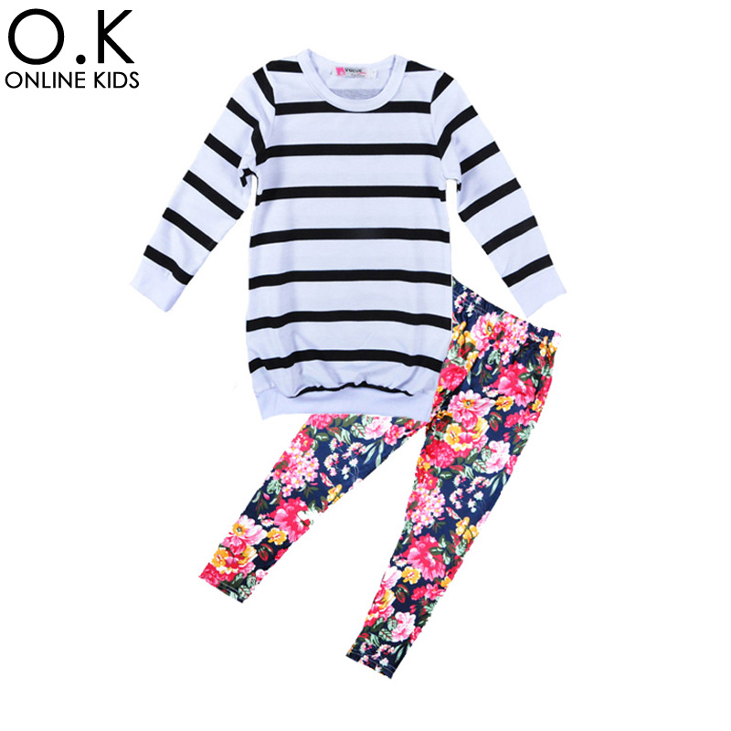 New Flower Girl Clothing Sets 2017 Spring Autumn Stripe T Shirt+Flowers Leggings Pants 2pcs Clothing Set For Kids Baby Clothes<br><br>Aliexpress