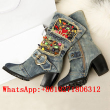 Hot Sale High Heels Zip Boots Fashion Casual Blue Denim Mid-Calf Boots Cowgirl Rhinestone Ladies Shoes Round Toe Riding Booties