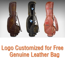 brand PGM Golf stand caddy golf cart bag staff golf bags golf genuine real leather clubs bag. The logo can customized for free