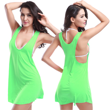 Hot Wholesale Wild Sexy Racedback Design Cover Ups 2017 Victoria Style Women's Crochet Beach Dress(China)