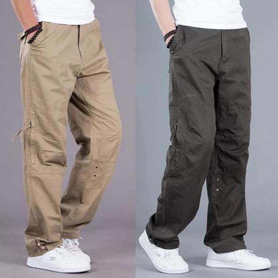 Cargo Pocket Pants Men Loose Straight Hip Hop Long Trousers Autumn Winter Cotton Mens Joggers Wide Leg Big Size S-3XL