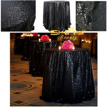96'' Round Black Sequin Tablecloth,wholesale Wedding Beautiful Sequin Table Cloth / Overlay /Cover(China)