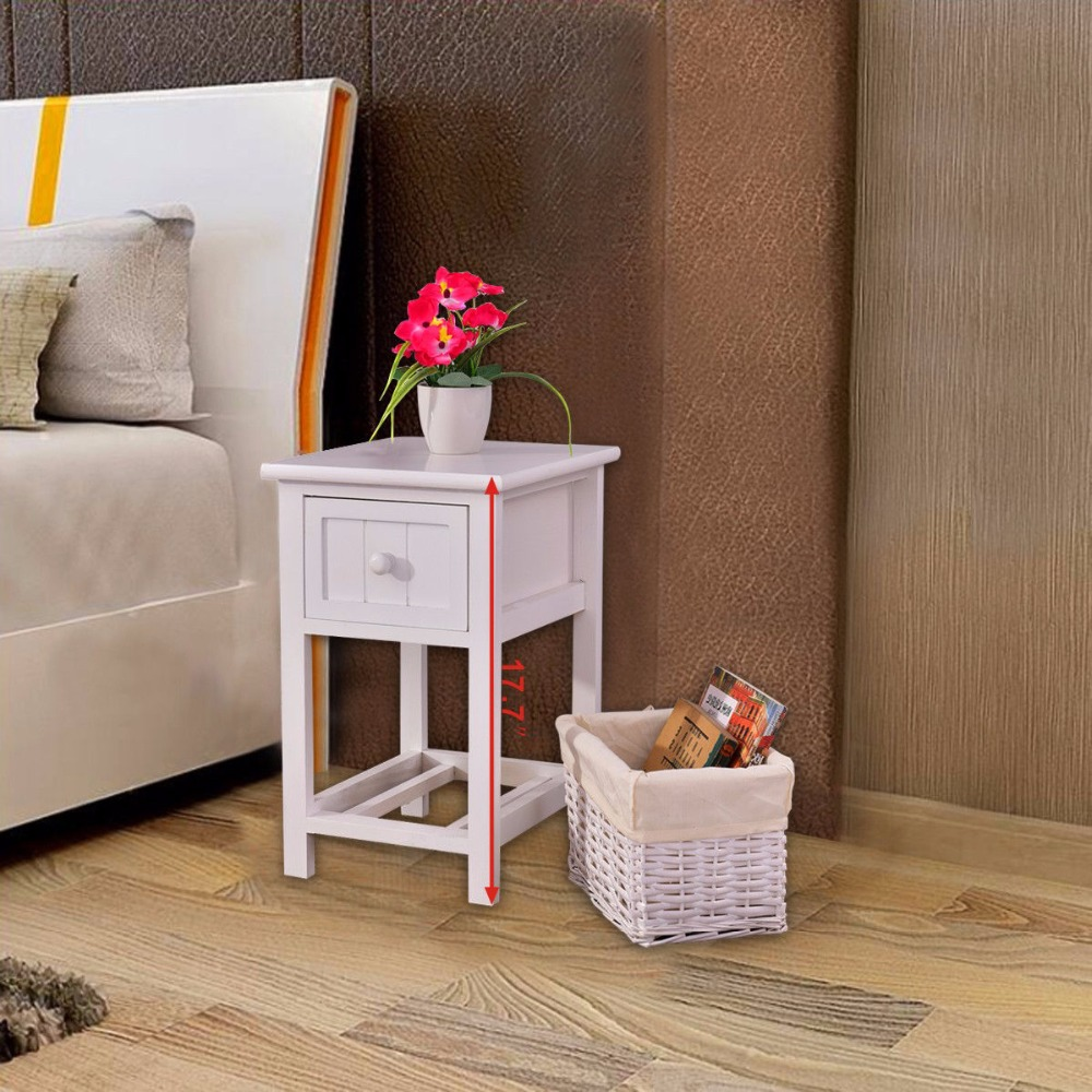 Goplus Night Stand 2 Layer 1 Drawer Bedside End Table White Modern Organizer Bedroom Wood Nightstand with Basket HW53787<br>