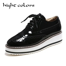 HIGHT COLORS Brand Medium Heel Wedges Shoes Platform Pumps Women Lace up Casual Shoes Female Comfortable Loafer Shoes Size 42 43(China)