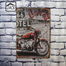 Route 66 MOTORCYCLE Red Retro 20X30CM Vintage Tin Plate Metal Tin Signs Wall Decor Garage Club Barn Parlor Bedroom Plaques(China)