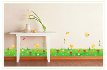 Factory Direct Wholesale Flowers Baseboard Wall Stickers Chicken on green grass and flower Kitchen Porch Pvc Wall Stickers