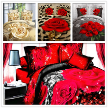 Luxury Brand Red Rose Flowers 3D Bedding Set 4pcs Bedclothes Duvet Cover Bed Sheet Pillowcase Bedding Sets Bed Linen Queen Size