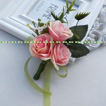 Silk Fashion Artificial Rose Groom Boutonniere Corsage Flower in  Wedding Church Beach Decor Pink  FL5356