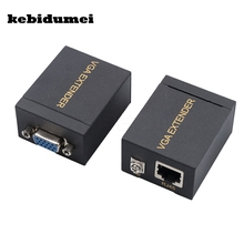 kebidumei 60m VGA Extender To Lan Cat5 Cat5e RJ45 Ethernet Female Network Signal Extender Sender Transmitter Receiver Adapter