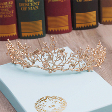 CC&BYX vintage gold tiara headband baroque crown crystal tiaras crowns hairband wedding hair jewelry bridal accessories 6262