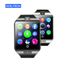 SCELTECH Bluetooth Smart Watch Q18 With Camera Facebook Whatsapp Twitter Sync SMS Smartwatch Support SIM TF Card For IOS Android(China)