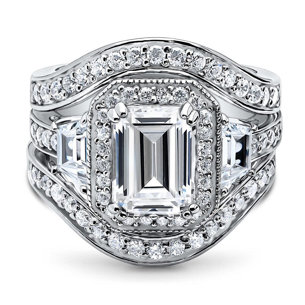 BERRICLE Rhodium Plated Sterling Silver Emerald Cut Cubic Zirconia CZ Halo Engagement Ring Set #VR321-02