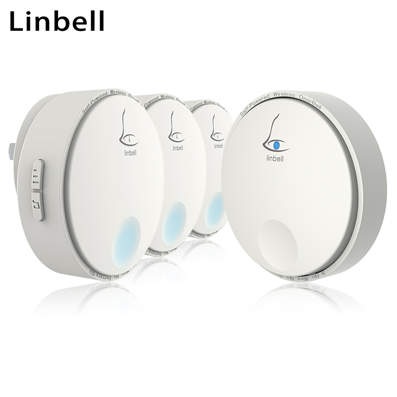Linbell G2 wireless electric doorbells self powered outdoor waterproof music doorbell for dogs EU/US/UK plug 1 button 3 Receiver<br>