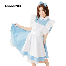 Sky Blue Adult Alice In Wonderland Anime Dress Lolita Girls Cute Fancy Maid Costume Cosplay Party Wear M/L Size 200-503