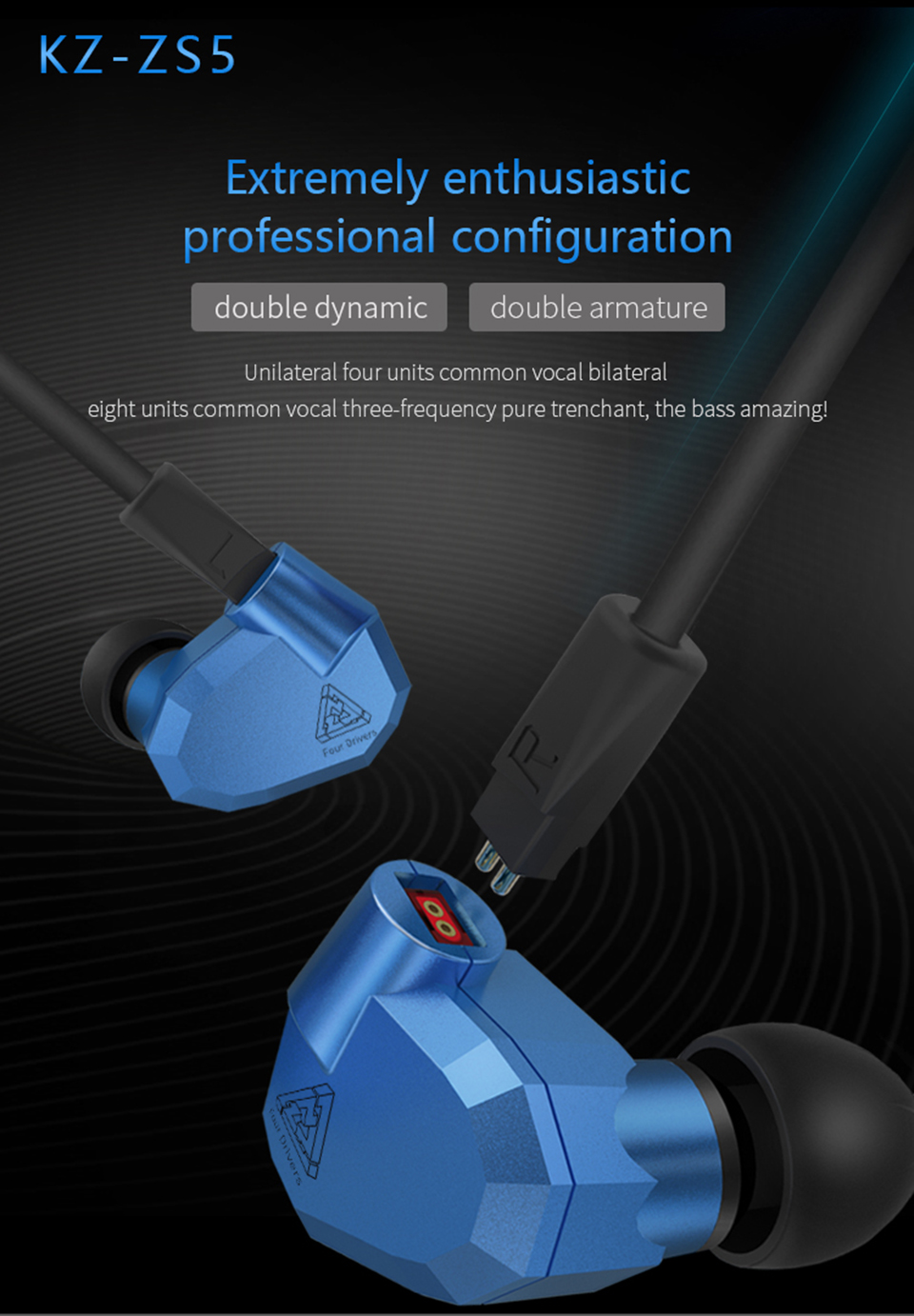 Original KZ ZS5 2DD+2BA Hybrid HIFI Earphones In Ear DJ Monito Super Bass Earplug Headsets Stereo Surround Earbuds For iPhone