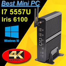 Fanless Mini PC Linux Windows 10 Broadwell Intel Core i7 5557U Max 3.4GHz Graphics Iris 6100 HTPC 300M Wifi 2 HDMI 4K HD TV Box