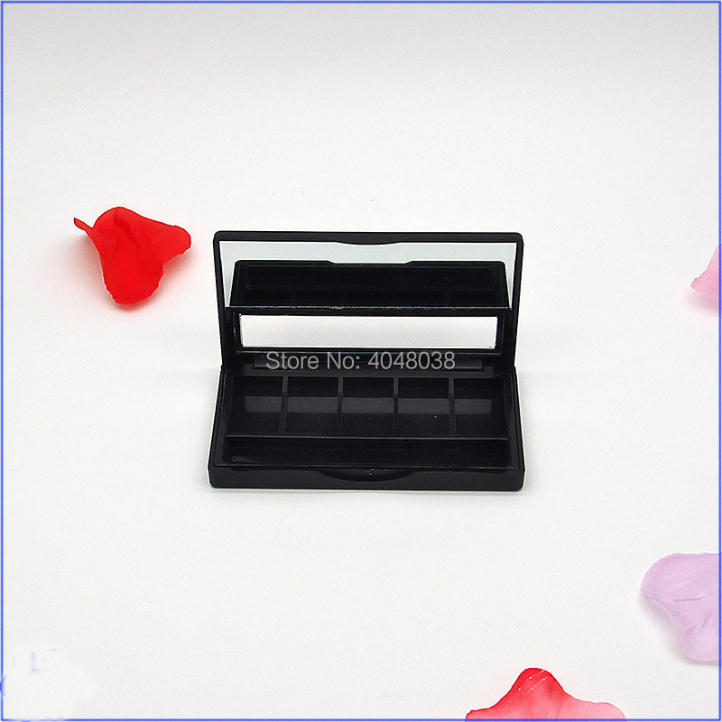 Eye shadow Compact Empty Lipstick Palette 5 Grids DIY Eyeshadow Packing Box with Aluminum Pan and lip brush Makeup Container (3)