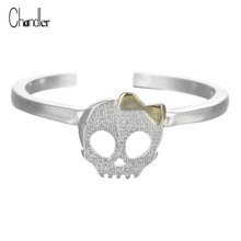 925 Sterling Silver Cute Skull bowknot Ring Open Gothic Midi Toe bague Women Infinity Homme Bijoux Christmas Gift Anillo Anel De