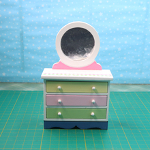 G07-X021 children baby gift Toy 1:12 Dollhouse mini Furniture Miniature rement Doll accessories Dressing table with mirror 1pcs(China)