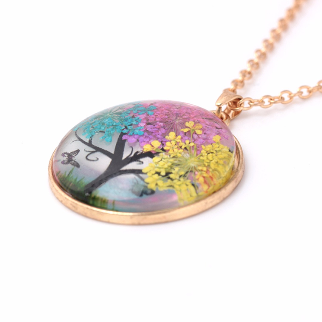 Sainio Glass Real Dried Flower Glass Butterfly Wishing Tree Pendant Necklace Charm Women Sweater Chain Creative Jewelry Gift