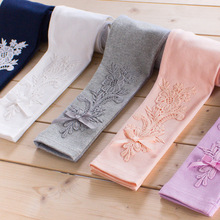 Girls Pants autumn Leggings Children Elastic Floral Lace Printed Flowers Cotton Gray white pink Kids Trousers 3-13