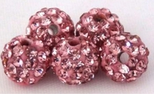 Discount !Pink 10mm 100pcs/pack fashion Rhinestone Pave Disco ball Shamballa Crystal beads for Bracelet wholesale.Free Shipping!(China)