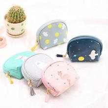 Flamingo Pattern PU Leather Cartoon Waterproof Pouch Coin Purse Mobile Phone Bag Portable Mini Makeup Zipper Storage Bag