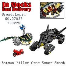 LEPIN 768PCS Super Heroes DC Batman Tumbler Killer Croc Sewer Smash Building Blocks figures Avengers Compatible 76055(China)