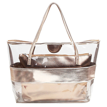 FGGS-Waterproof Half Transparent Hand Bag, PVC Beach Bag and Polyester with Small Bag