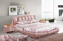 contemporary King size Queen modern genuine leather soft bed bedroom furniture pink