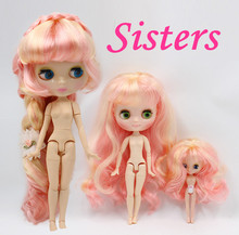 BL313/1010 Pink mix golden Colorful Long waving Hair Sisters, three dolls, blyth doll(30cm), middle doll(20cm), Mini doll(10cm),(China)