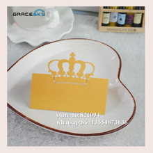 50pcs free shipping laser cut Elegant Crown design paper Name Place Wedding invitation Cards for Party Table home Decoration