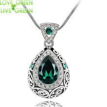 2017 vintage quality wedding bridal18K gold color Angel Ocean Tear Design green crystal Pendant fashion Necklace Jewelry 84191
