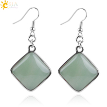 CSJA Geometry Natural Stone Pendant Dangle Earrings Girls Women Jewelry Square Gem White Blue Howlite Pink Quartz Crystal E163(China)