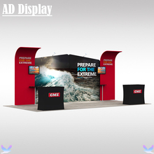 20ft Trade Show Booth Portable Tension Fabric Advertising Banner Display Wall  With Two Hard Case Podium And Two LED Lights