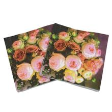 [RainLoong] Printed Feature Rose Paper Napkin Event & Party Supplies Tissue Decoupage Servilleta 33cm*33cm 20pcs/pack/lot(China)
